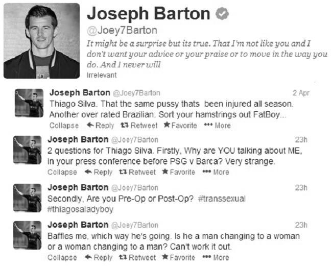Joey Barton su Twitter contro Thiago Silva