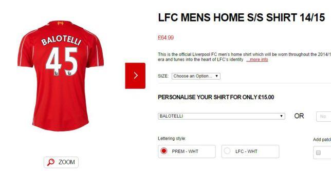 La maglia di Balotelli sul sito del Liverpool