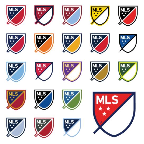 I loghi di MLS con i colori delle squadre