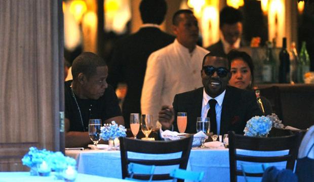 Jay and Kanye eating culatello, drinking Lambrusco and talking about Juan Sebastian Veron.